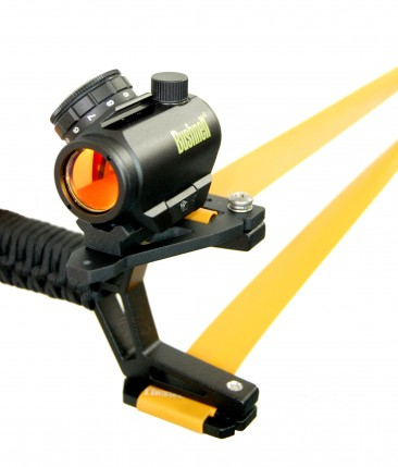 Fiber Optic Slingshot Sight with Optical Sight Mounted on Rail (Optical Sight not included)