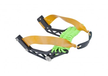 Montie Gear Gloveshot Slingshot with a black frame and lime green paracord wrap
