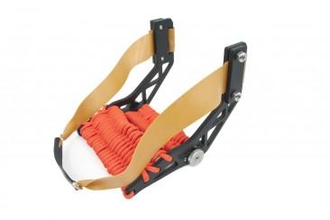 Montie Gear Gloveshot Slingshot with a black frame and orange paracord wrap