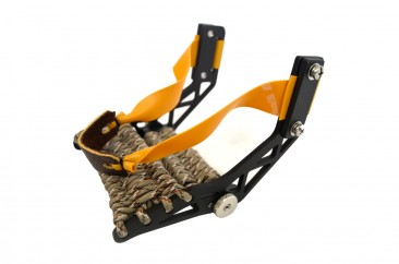 Montie Gear Gloveshot Slingshot with a black frame and desert camo paracord wrap